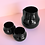 Getränkeset aus Porzellan, Becher und Karaffe, schwarz