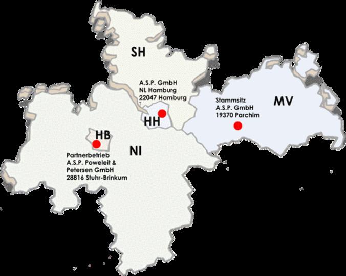 Standorte ASP Hamburg Parchim Bremen