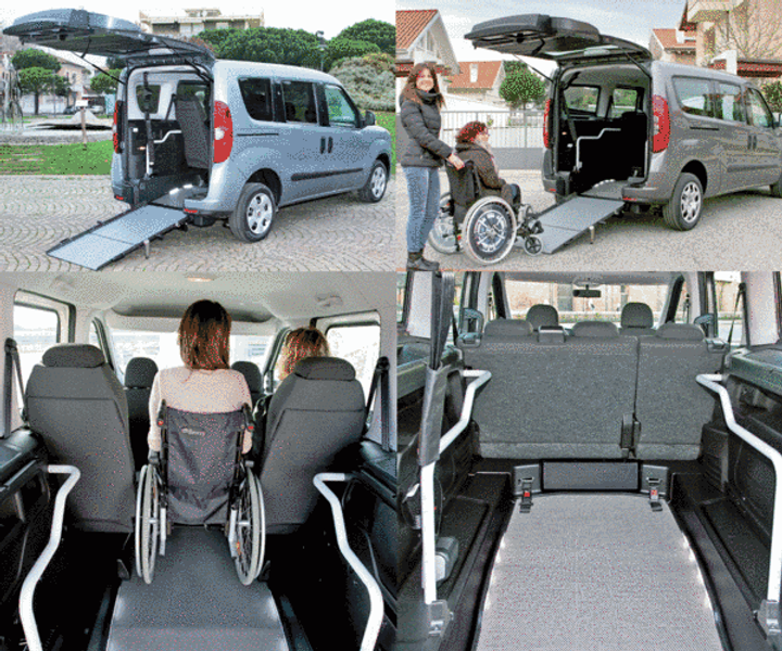 Barrierefreier Fiat Doblò für die Mitnahme eines Rollstuhls und bis zu 4 weiteren Personen bzw. 5 weiteren Personen im Fiat Doblò Maxi