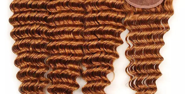 Deep Wave Ginger Color Peruvian Remy Hair + Closure