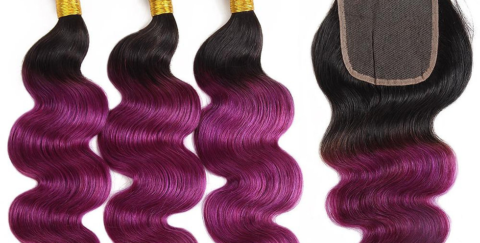 T1B/ Purple Ombre Deep Wave Human Remy Hair Bundle + Closure Deal