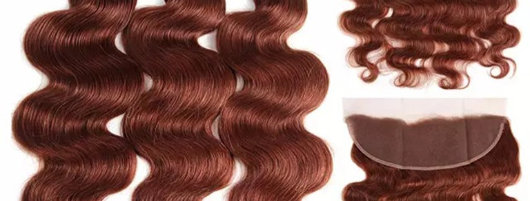Blonde Brown Color Brazilian Remy Hair Body Wave Bundles with 13x4 Lace Frontal