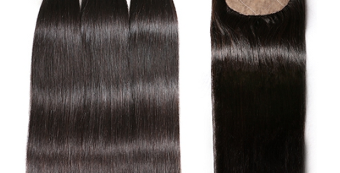 Straight Human Indian Raw Remy Virgin Hair Bundle + Closure Deal