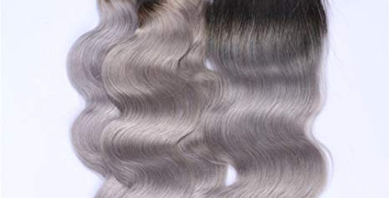 1B/ Grey Ombre Body Wave Human Remy Hair Bundle + Closure Deal
