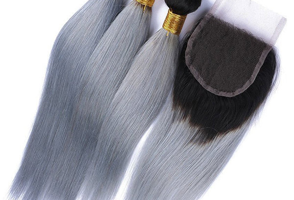 1B/ Grey Ombre Straight Human Remy Hair Bundle + Closure Deal