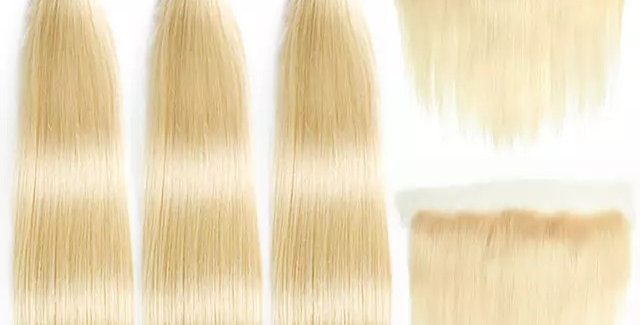 Straight 613 Blonde Color Brazilian Remy Hair + Lace Frontal