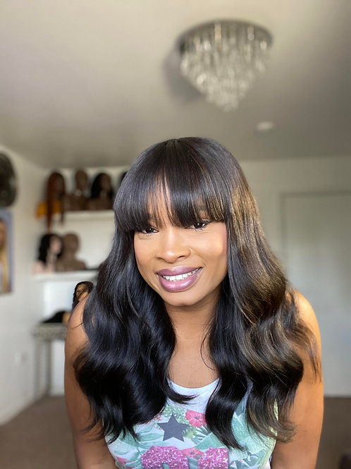 "Jesica 16"" Inches Lace Closure Fringe Wig"