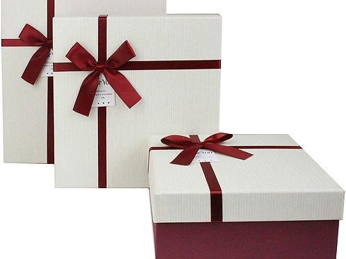 Luxury Presentation Box, Cream Box with Blue Lid, Chocolate Brown I