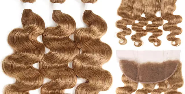 #27 Brazilian Remy Hair Bundles with 13x4 Lace Frontal
