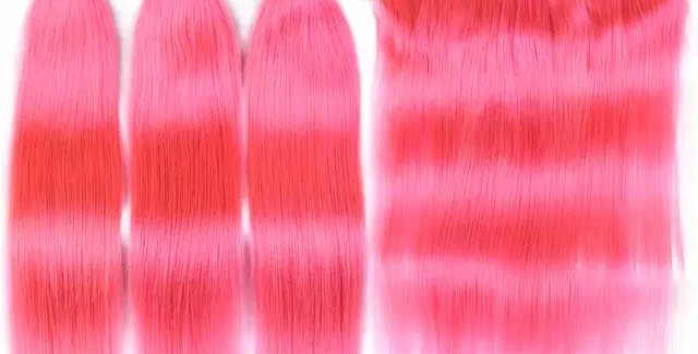 Pink Indian Raw Remy Hair + Lace Frontal