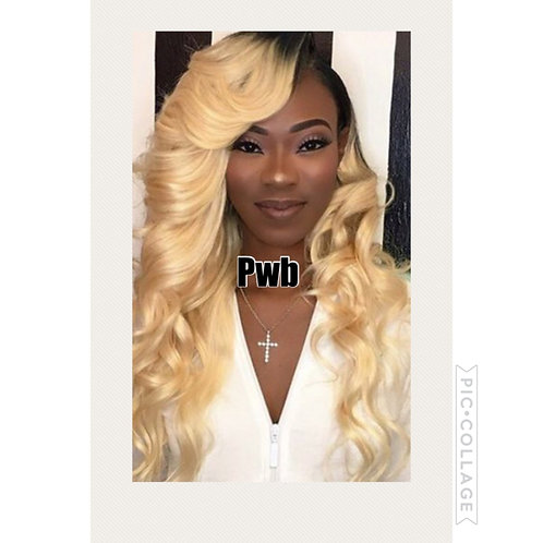 Ombre blonde lace frontal Handmade wig