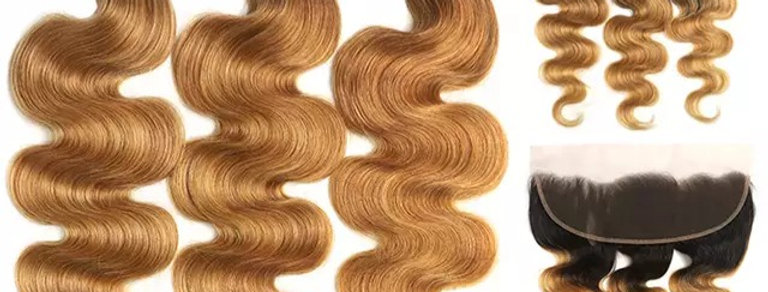 1B 27 Honey Blonde Ombre Brazilian Remy Hair Deep Wave with 13x4 Lace Frontal