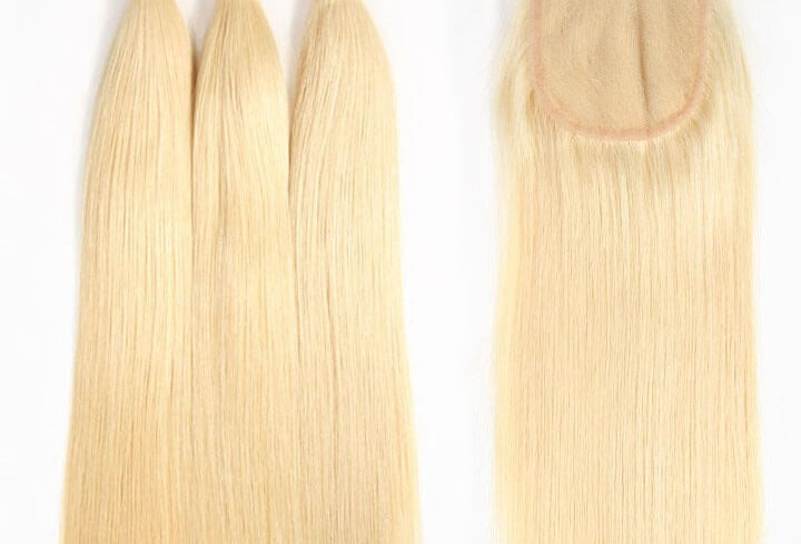 613 Blonde Straight Human Remy Malaysian Virgin Hair Bundle + Closure Deal