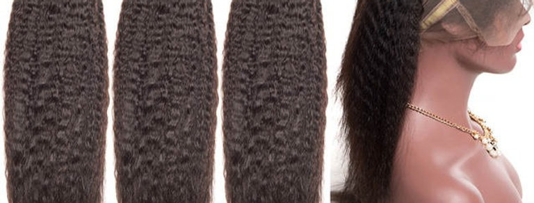 360 Lace Frontal + Bundle Kinky Straight Hair 3 Bundle Deals Peruvian Hair