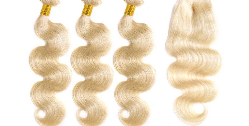 613 Blonde Body Wave Virgin Human Remy Hair Bundle + Closure Deal
