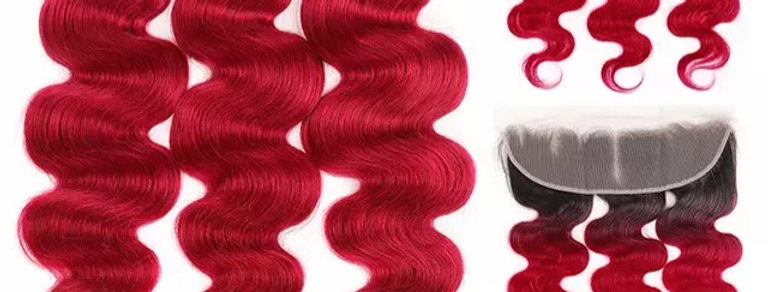 Red Ombre Virgin Remy Hair Deep Wave with 13x4 Lace Frontal