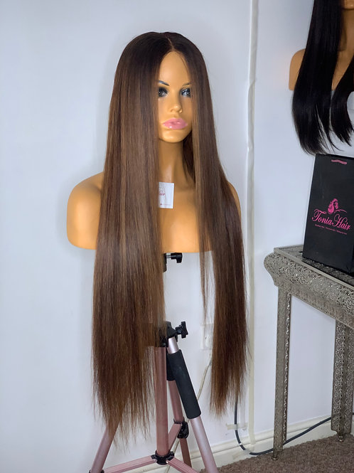"30"" Clodia Honey Brown Raw Hair Unit"