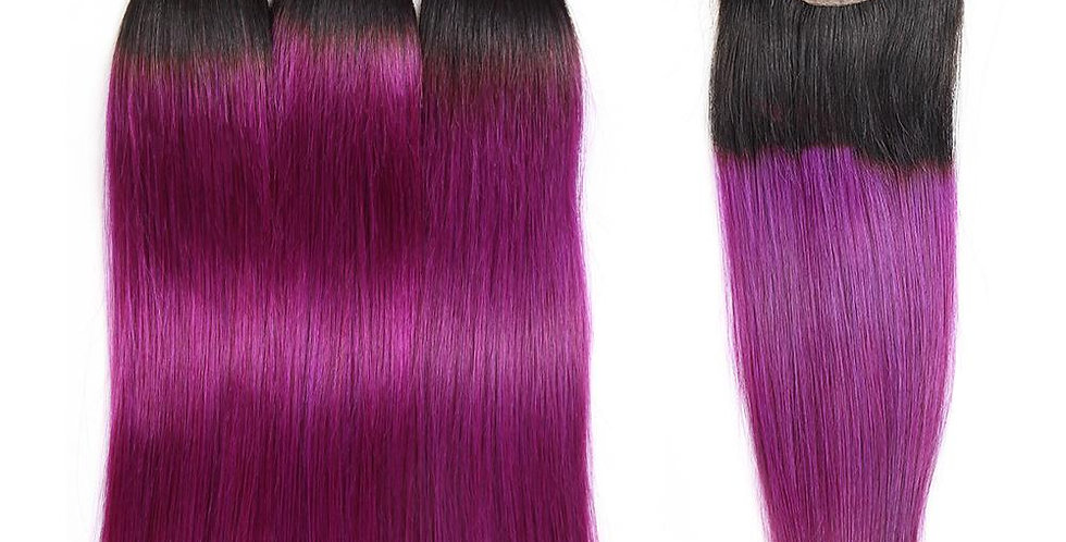T1B/ Purple Ombre Straight Human Remy Virgin Hair Bundle + Closure Deal