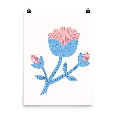 Stylised Blooming Flower Print