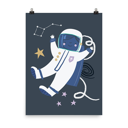Children's Nursery Print - Space Astronaut Wall Art