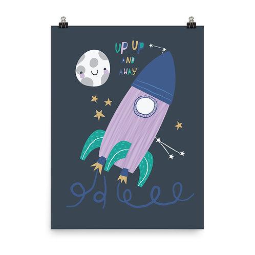 Children's Nursery Print - Space Rocket Wall Art
