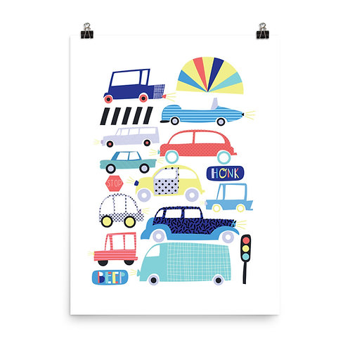 Traffic Jam Children's Nursery Print