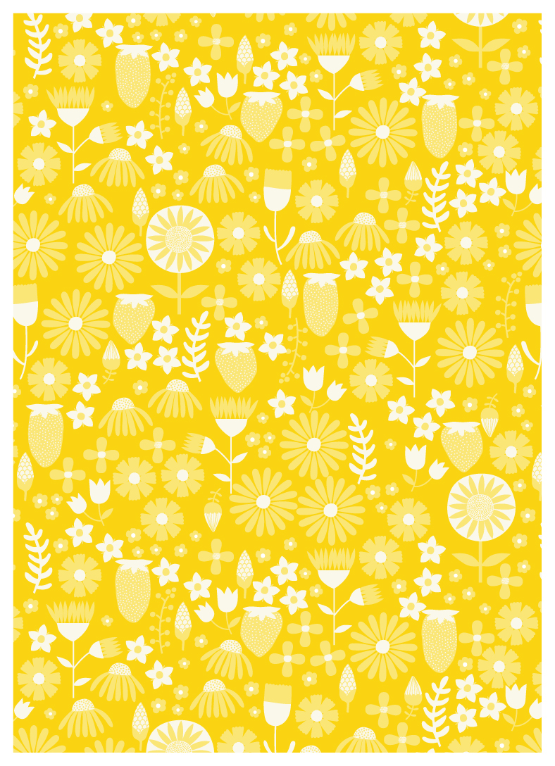 Yellow Strawberry Pattern