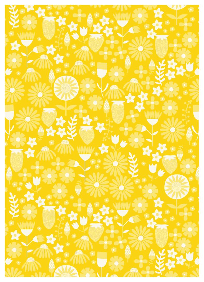 Yellow Strawberry Pattern