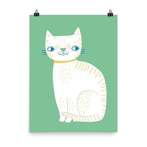White Cat Nursery Print