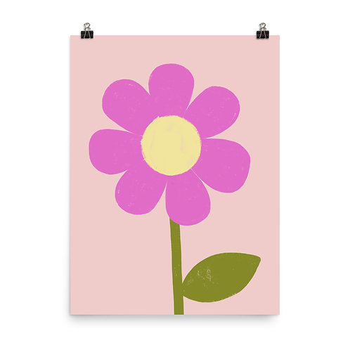 Large Bold Pink Flower Nursery Art Print