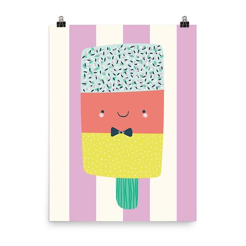 Cute Ice Cream With Sprinkles Nursery Art Print