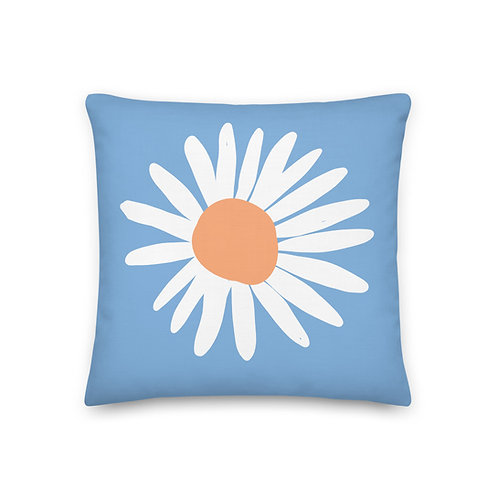 Pillow With Insert - Sky Blue Daisy - Cushions and Pillows for Girl