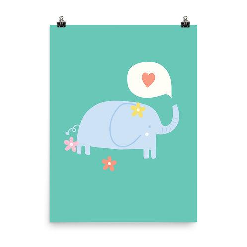 Cute Elephant Print, Kids Room Art, Nursery Decor