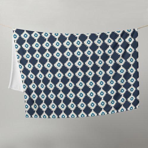 Ikat Throw Blanket Navy Blue