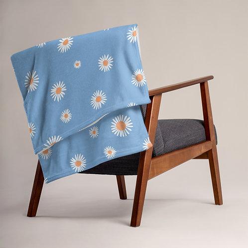 Couch Throw Blanket - Sky Blue Daisy Flower - Spring Decor Ideas