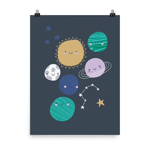 Children's Nursery Print - Stars and Planets Wall Art