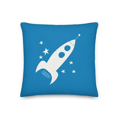 Blue Rocket Pillow - Stars and Planets - Space Themed Nursery