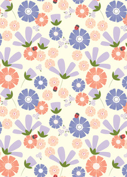 Spring Flowers with Ladybird Pattern