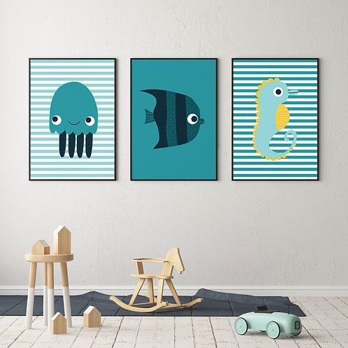 Under The Sea Themed Nursery Prints - Gallery Wall Collection - Nursery
