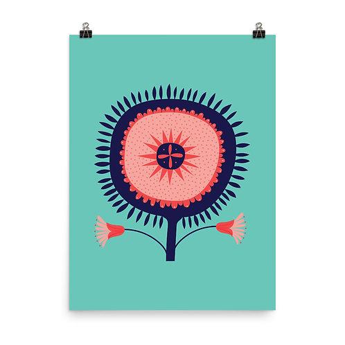 Turquoise Folk Style Flower Art Print