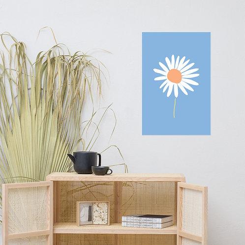 Wall Art Print For Kids - Sky Blue Daisy Flower