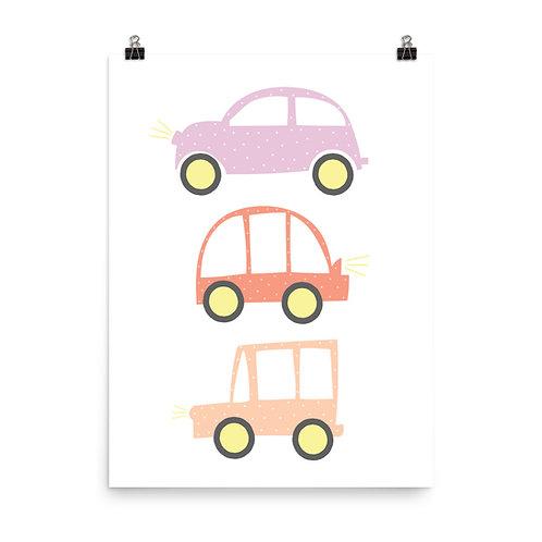 Children's Nursery Print - Cute Cars, Kids Car Print, Baby Nursery Decor
