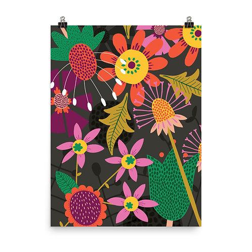 Dark Floral Botanical Print