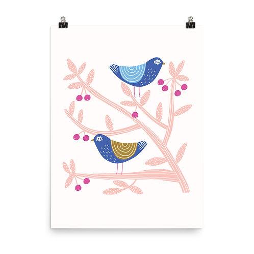 Two Folk Birds Print