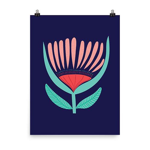 Navy Folk Style Flower Art Print