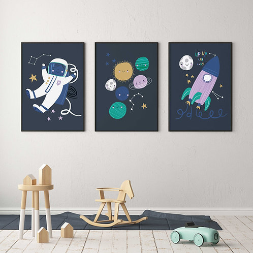 Space Themed Nursery Prints - Gallery Wall Collection - Nursery