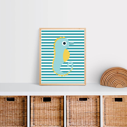 Seahorse Nursery Print - Under the Sea Theme
