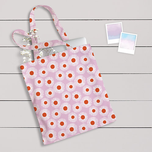 Cotton Daisy Print Tote Bag