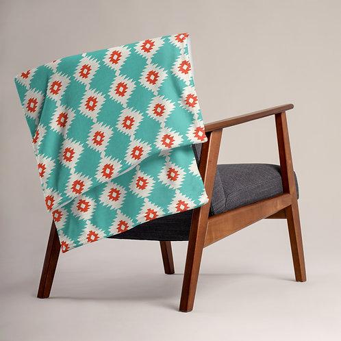Ikat Throw Blanket Turquoise