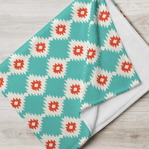 Ikat Throw Blanket Turquoise